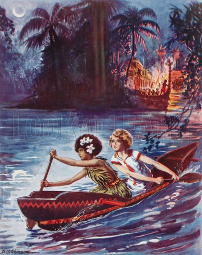 A dash for freedom: two girls making their escape by canoe. Illustration from The Schoolgirls' Own Annual (Fleetway House, London, 1930).
