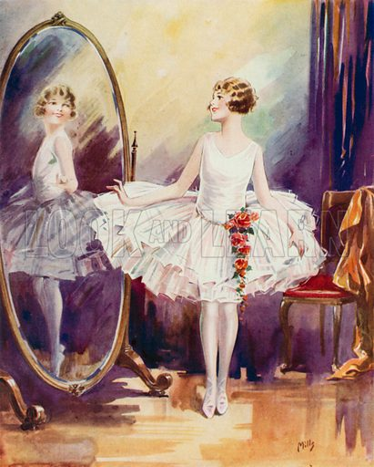Pleasing reflection: a girl in a ballet dress admiring herself in a mirror. Illustration from The Schoolgirls' Own Annual (Fleetway House, London, 1930).