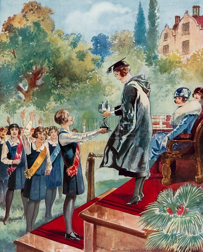 A fourth form triumph: a schoolgirl being presented with a trophy. Illustration from The Schoolgirls' Own Annual (Fleetway House, London, 1930).