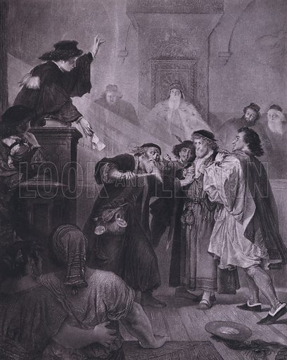 Scene from Shakespeare's The Merchant of Venice (Act IV, Scene 1). Illustration from Shakespeare-Gallerie (G Grote'sche Verlagsbuchhandlung, Berlin, 1886).