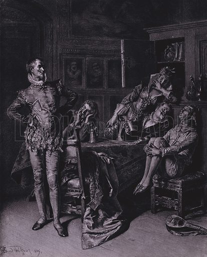 Scene from Shakespeare's Twelth Night (Act II, Scene 3). Illustration from Shakespeare-Gallerie (G Grote'sche Verlagsbuchhandlung, Berlin, 1886).