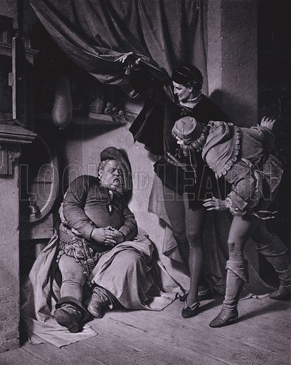 Scene from Shakespeare's King Henry IV, Part 1 (Act II, Scene 4). Illustration from Shakespeare-Gallerie (G Grote'sche Verlagsbuchhandlung, Berlin, 1886).