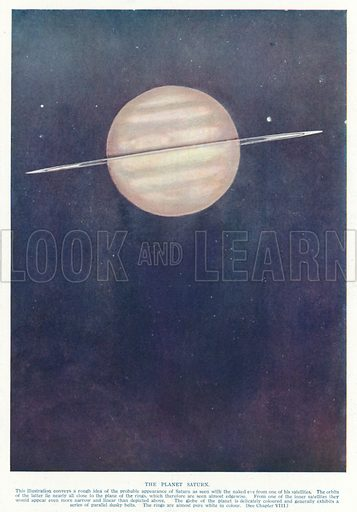 The planet Saturn. Illustration from Hutchinson's Splendour of the Heavens (Hutchinson & Co, London, 1923).