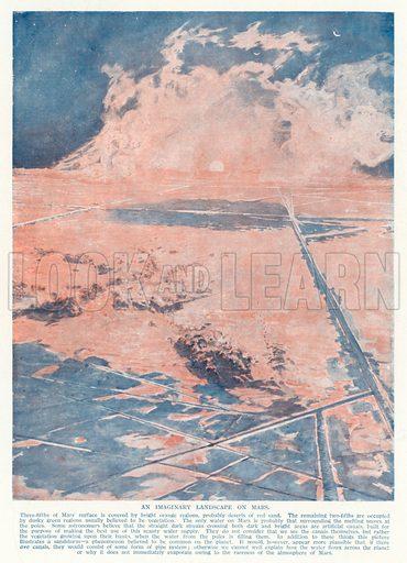 An imaginary landscape on Mars. Illustration from Hutchinson's Splendour of the Heavens (Hutchinson & Co, London, 1923).
