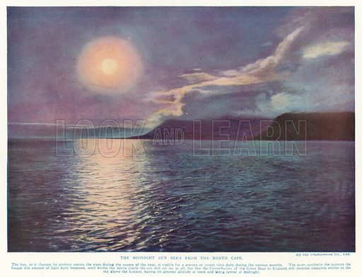 The Midnight Sun seen from the North Cape. Illustration from Hutchinson's Splendour of the Heavens (Hutchinson & Co, London, 1923).