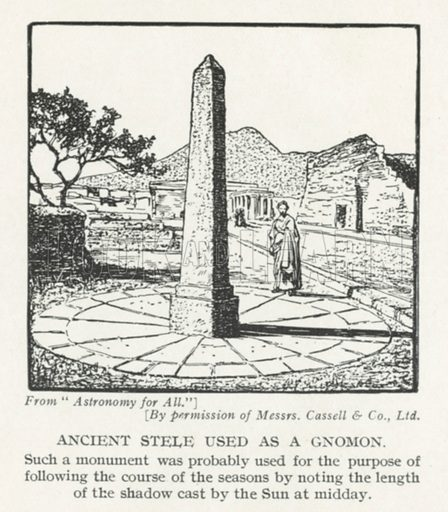 Ancient stele used as the gnomon of a sundial. Illustration from Hutchinson's Splendour of the Heavens (Hutchinson & Co, London, 1923).