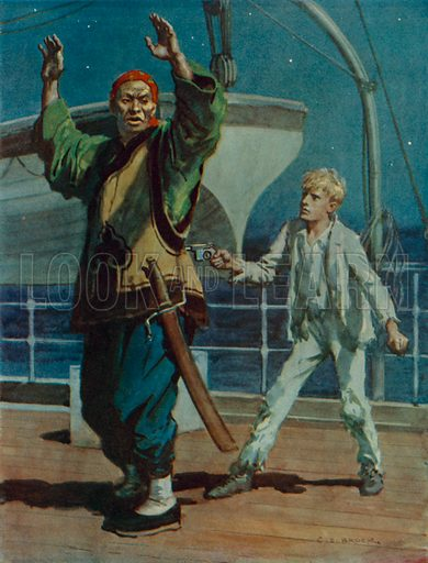Boy holding a Chinese pirate at gunpoint, scene from Hai Ping the Pirate. Illustration from The Passing of the Black Hawk and Other Stories, by E le Breton and others (Raphael Tuck & Sons, London, Paris, New York, c1936).