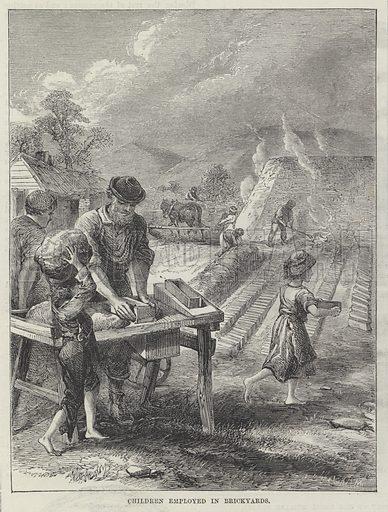 Victorian child labour: children employed in brickyards. Illustration for The British Workman, 1870.