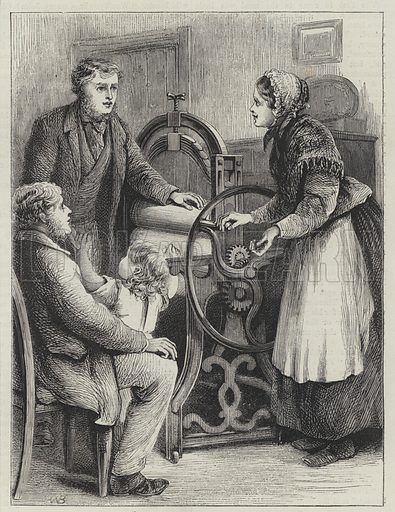 Saved from Slops or, a Welcome Present on the Wife's Birthday. Illustration for The British Workman, 1870.