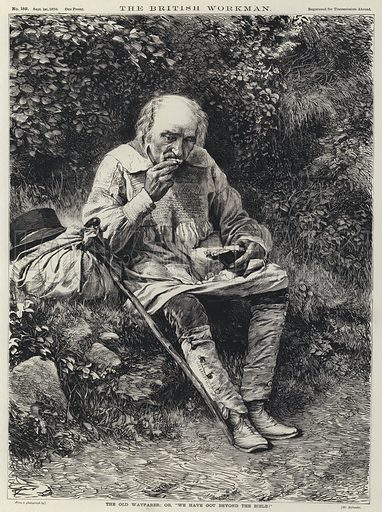 "The Old Wayfarer or, ""We Have Got the Bible!"". Illustration for The British Workman, 1870."