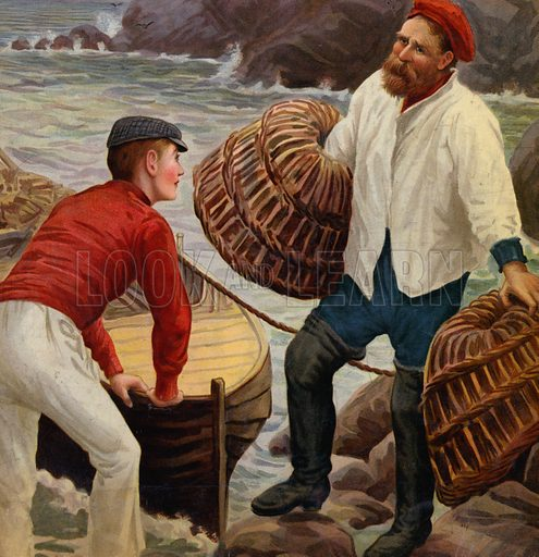 Fishermen with lobster pots. Illustration from The Cottager and Artisan (The Religious Tract Society, London, 1909).