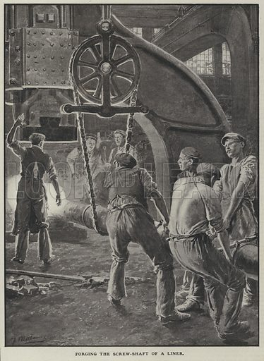 Forging the screw shaft of an ocean liner in a foundry. Illustration from The Cottager and Artisan (The Religious Tract Society, London, 1909).