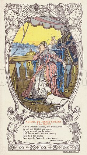 Mary, Queen of Scots, saying farewell to France and returning to Scotland after the death of her husband, King Francis …