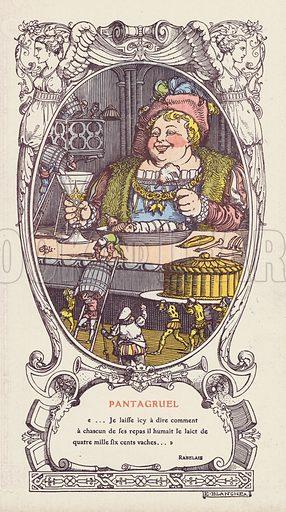 Pantagruel, from Francois Rabelais' series of novels La vie de Gargantua et de Pantagruel. Illustration published by French department store Galeries Lafayette, Paris, c1915.