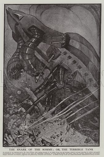 The Snark of the Somme: or, the terrible tank, 1916. Illustration from The Graphic, 23 September 1916.