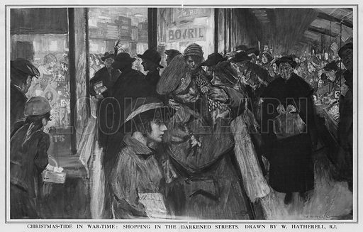 Christmas-tide in Wartime: Shopping on the Darkened Streets. Illustration from The Graphic, 1916.
