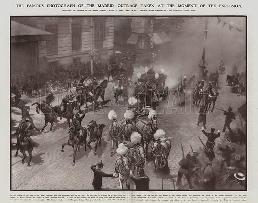 Assassination attempt against King Alfonso XIII and Queen Victoria Eugenie of Spain on their wedding day, Madrid, 31 May 1906. Illustration from The Illustrated London News, 9 June 1906.