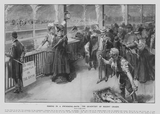 Fishing in the swimming pool at Steeplechase Park, Coney Island, New York, USA. Illustration from Illustrated London News, 31 March 1906.