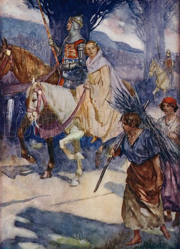 Isabella of Valois, the young Queen of Richard II of England, being move for her own safety during the rebellion against the King, 1399. Illustration for True Tales from History by Mabel Quiller-Couch (Humphrey Milford, 1911).