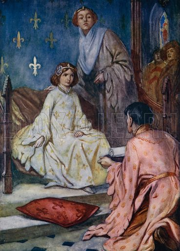 The young Isabella of Valois, daughter of King Charles VI of France, receiving the English envoys delivering the proposal of marriage to Richard II of England, 1396. Illustration for True Tales from History by Mabel Quiller-Couch (Humphrey Milford, 1911).