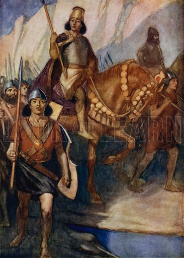 Cyrus the Great, King of Persia, at the head of his army, 6th Century BC. Illustration for True Tales from History by Mabel Quiller-Couch (Humphrey Milford, 1911).