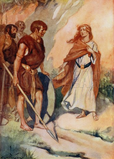 Princess Helena, daughter of Coel, King of Britain, speaking to soldiers, c4th Century. Illustration for True Tales from History by Mabel Quiller-Couch (Humphrey Milford, 1911).