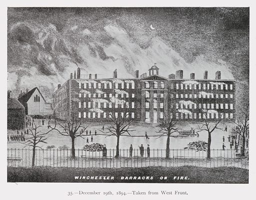 Winchester Barracks on fire, Hampshire, 19 December 1894. Illustration from Ninety-Nine Views of Winchester and Neighbourhood, c1910.