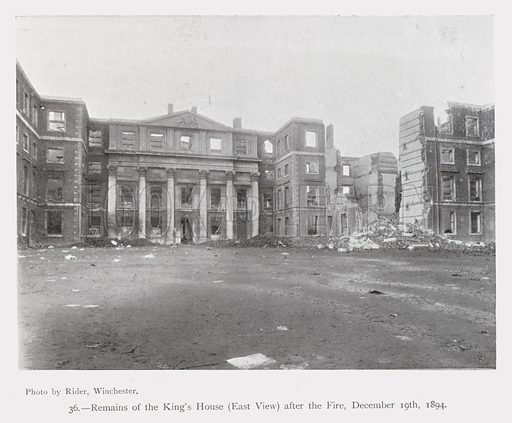 Remains of Winchester Barracks (King's House), Hampshire, after its destruction by fire on 19 December 1894. Illustration from Ninety-Nine Views of Winchester and Neighbourhood, c1910.