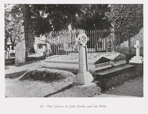 Graves of John Keble, English clergyman and one of the leaders of the Oxford Movement, and his wife, All Saints Churchyard, Hursley, Winchester, Hampshire. Illustration from Ninety-Nine Views of Winchester and Neighbourhood, c1910.