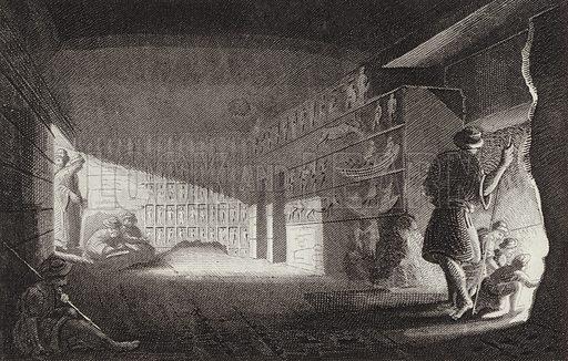 Ancient Egyptian rock cut chapel, Gebel el-Silsila. Illustration for Bilder-Atlas, Ikonographische Encyklopädie der Wissenschaften und Künste (Brockhaus, 1875).