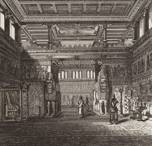 Reconstruction of the hall of an Assyrian king. Illustration for Bilder-Atlas, Ikonographische Encyklopädie der Wissenschaften und Künste (Brockhaus, 1875).