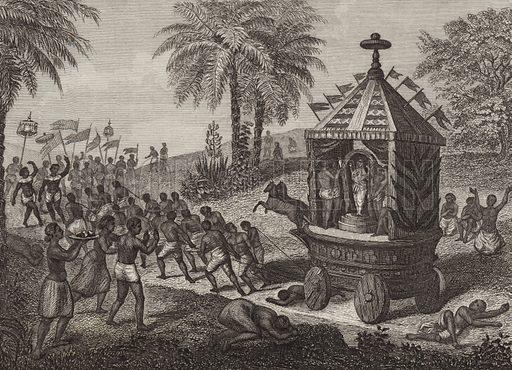 Hindu worshippers pulling a Car of Juggernaut in Ancient India. Illustration for Bilder-Atlas, Ikonographische Encyklopädie der Wissenschaften und Künste (Brockhaus, 1875).