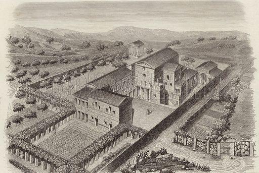 Ancient Greek country house in Al-Barah, Syria. Illustration for Bilder-Atlas, Ikonographische Encyklopädie der Wissenschaften und Künste (Brockhaus, 1875).