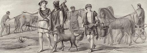 Work and occupations in Ancient Greece. Illustration for Bilder-Atlas, Ikonographische Encyklopädie der Wissenschaften und Künste (Brockhaus, 1875).