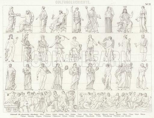 Gods of Ancient Greece and Rome. Illustration for Bilder-Atlas, Ikonographische Encyklopädie der Wissenschaften und Künste (Brockhaus, 1875).