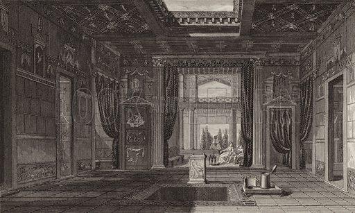 Interior of a Roman house in Pompeii. Illustration for Bilder-Atlas, Ikonographische Encyklopädie der Wissenschaften und Künste (Brockhaus, 1875).