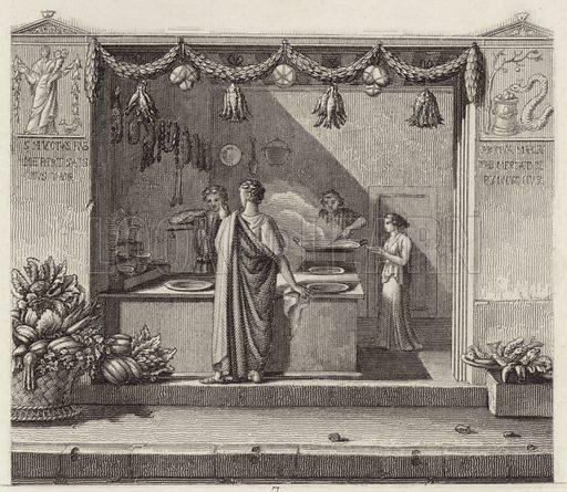 Ancient Roman shop. Illustration for Bilder-Atlas, Ikonographische Encyklopädie der Wissenschaften und Künste (Brockhaus, 1875).