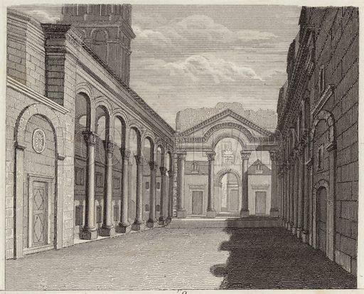 Hall of the Palace of the Roman Emperor Diocletian, Spalato (Split, Croatia). Illustration for Bilder-Atlas, Ikonographische Encyklopädie der Wissenschaften und Künste (Brockhaus, 1875).