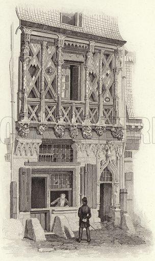 House in Le Mans, France, 15th Century. Illustration for Bilder-Atlas, Ikonographische Encyklopädie der Wissenschaften und Künste (Brockhaus, 1875).