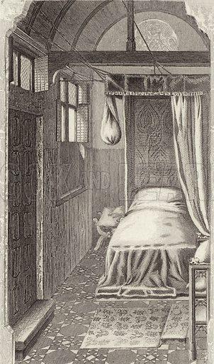 Women's quarters in a house, 15th Century. Illustration for Bilder-Atlas, Ikonographische Encyklopädie der Wissenschaften und Künste (Brockhaus, 1875).