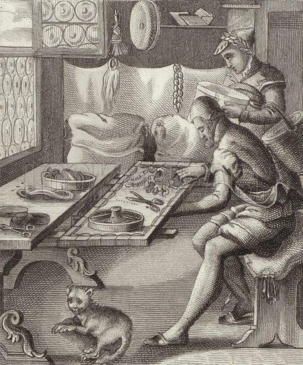 Silk embroiderer, 16th Century. Illustration for Bilder-Atlas, Ikonographische Encyklopädie der Wissenschaften und Künste (Brockhaus, 1875).