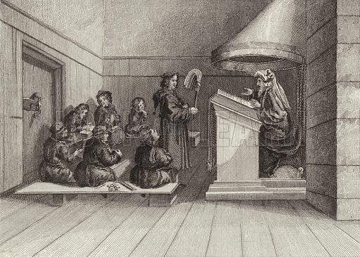 School, 1520. Illustration for Bilder-Atlas, Ikonographische Encyklopädie der Wissenschaften und Künste (Brockhaus, 1875).