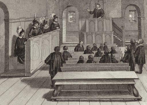 Lecture hall at Tubingen University, Germany, 17th Century. Illustration for Bilder-Atlas, Ikonographische Encyklopädie der Wissenschaften und Künste (Brockhaus, 1875).