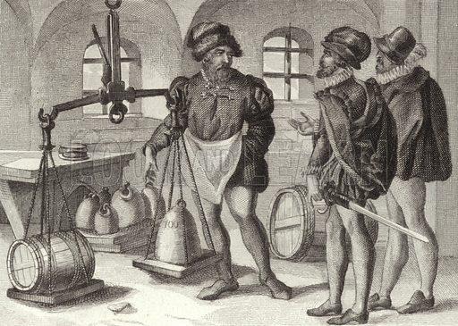 Trading vault, 16th Century. Illustration for Bilder-Atlas, Ikonographische Encyklopädie der Wissenschaften und Künste (Brockhaus, 1875).