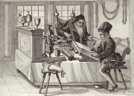 Scriptorium, 16th Century. Illustration for Bilder-Atlas, Ikonographische Encyklopädie der Wissenschaften und Künste (Brockhaus, 1875).
