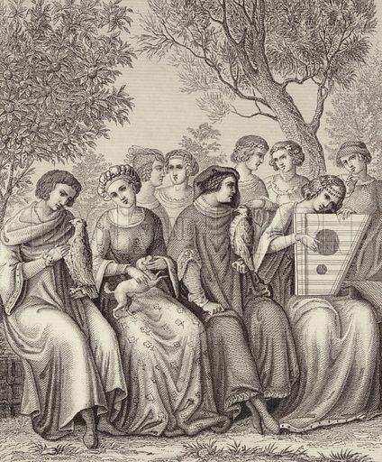 Socialising and entertainment, 1340. Illustration for Bilder-Atlas, Ikonographische Encyklopädie der Wissenschaften und Künste (Brockhaus, 1875).