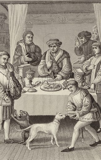 Dining hall of a prince, 1480. Illustration for Bilder-Atlas, Ikonographische Encyklopädie der Wissenschaften und Künste (Brockhaus, 1875).