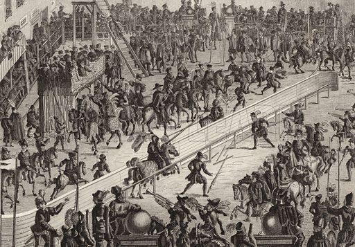 Tournament, 1560. Illustration for Bilder-Atlas, Ikonographische Encyklopädie der Wissenschaften und Künste (Brockhaus, 1875).