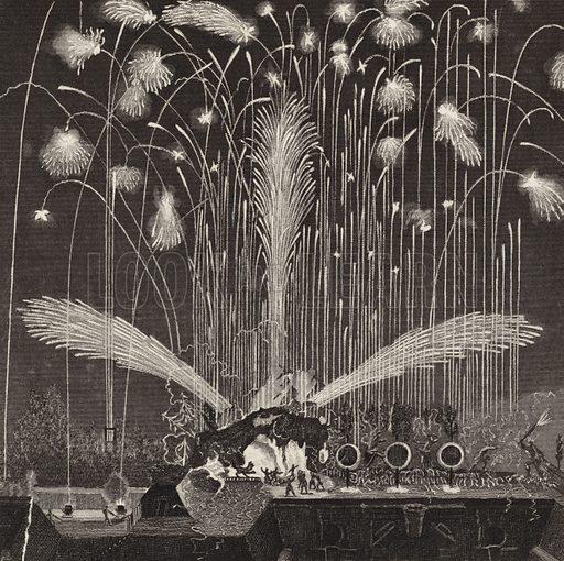 Firework display, 1680. Illustration for Bilder-Atlas, Ikonographische Encyklopädie der Wissenschaften und Künste (Brockhaus, 1875).