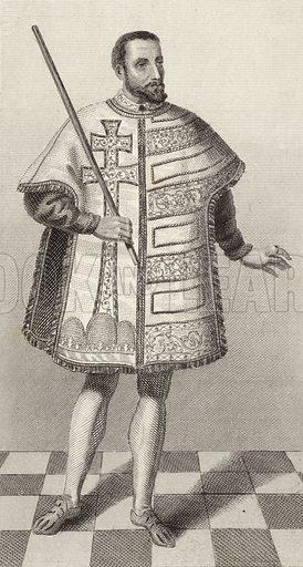 Hungarian royal herald, 16th Century. Illustration for Bilder-Atlas, Ikonographische Encyklopädie der Wissenschaften und Künste (Brockhaus, 1875).